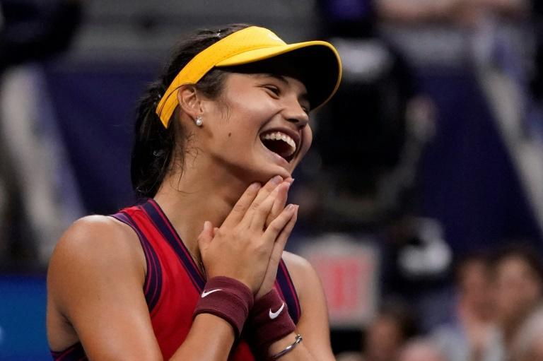 Britain's Emma Raducanu became the first qualifier to ever reach a Grand Slam final by defeating Greek 17th seed Maria Sakkari on Thursday in the US Open semi-finals (AFP/TIMOTHY A. CLARY)