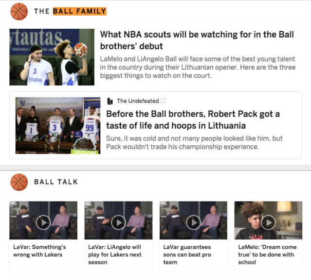 ESPN is blowing out its LaVar Ball coverage.
