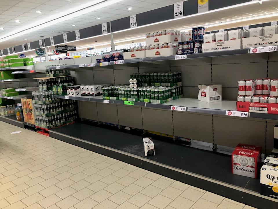 Empty shelves in a Lidl in Durham (PA)