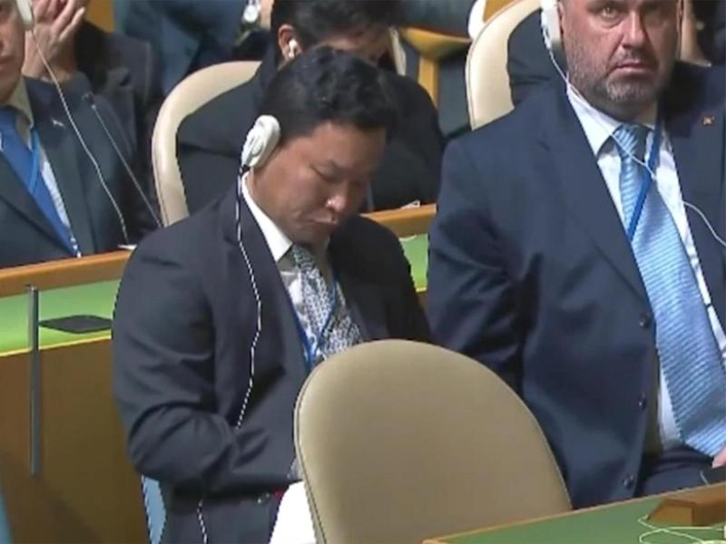 North Korea's ambassador walked out before Mr Trump arrived - leaving a more junior diplomat to listen to the speech