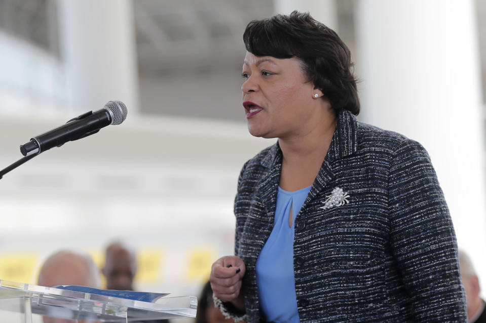 FILE - In this Nov. 5, 2019, file photo, New Orleans Mayor Latoya Cantrell speaks at a ribbon cutting ceremony for the opening the newly built main terminal of the Louis Armstrong New Orleans International Airport in Kenner, La. New Orleans plans to relax some coronavirus restrictions on Friday, Feb. 26, 2021. Mayor LaToya Cantrell's office says the past 30 days have shown a sustained decrease in case counts and positivity rates. (AP Photo/Gerald Herbert, File)
