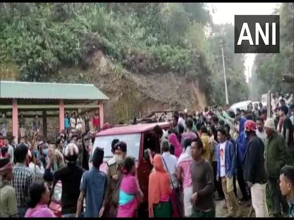 At the protest site in Kanchanpur area of North Tripura district. (Photo/ANI)