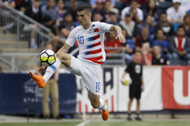 United States' Christian Pulisic leaps for the ball during the first half of an international friendly soccer match against Bolivia, Monday, May 28, 2018, in Chester, Pa. The United States won 3-0. (AP Photo/Matt Slocum)