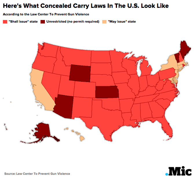 states allow concealed carry this map shows who can legally carry