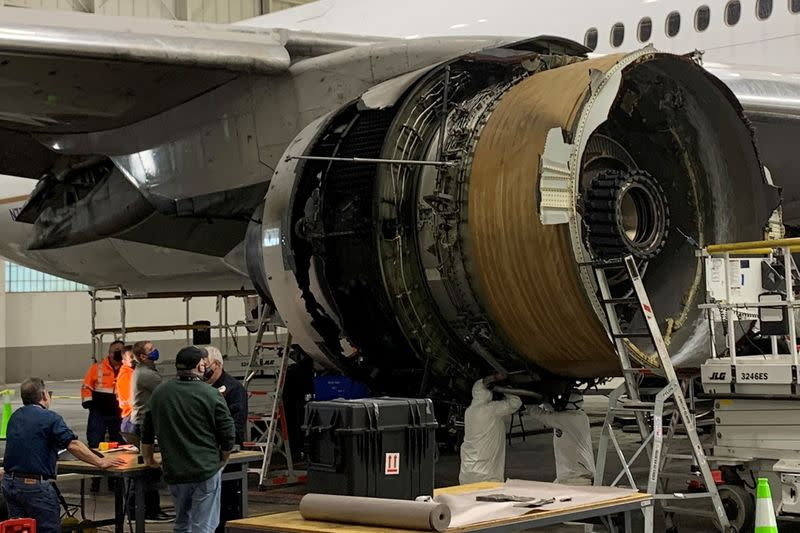 The damaged starboard engine of United Airlines flight 328 is seen following a February 20 engine failure incident