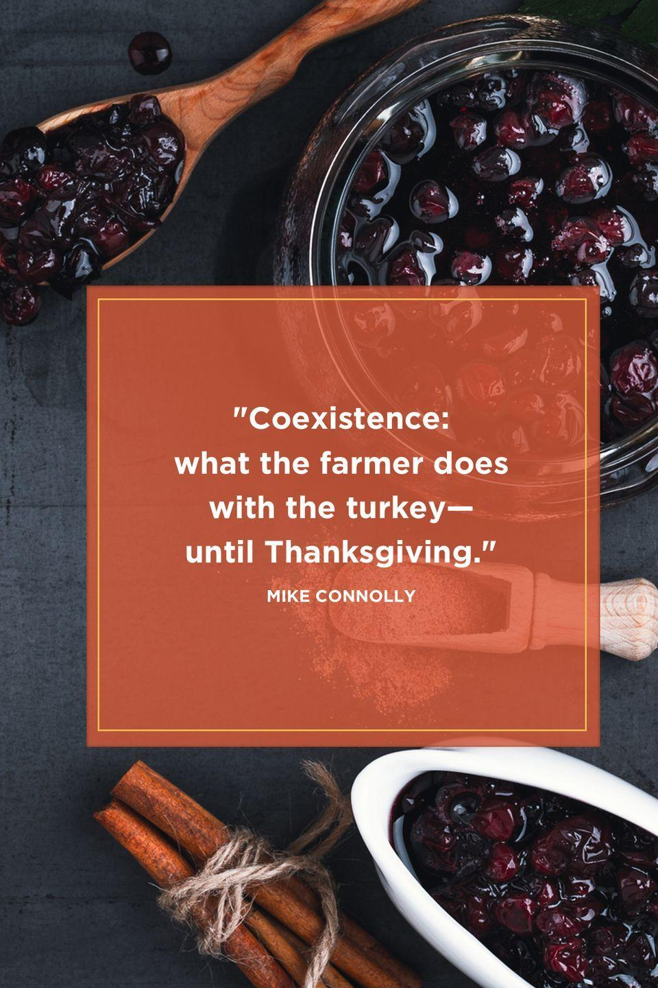 "<p>""Coexistence: What the farmer does with the turkey—until Thanksgiving."" </p>"