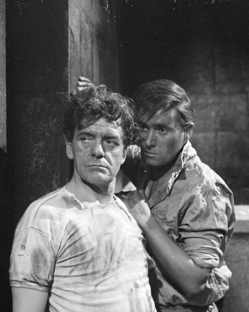 Douglas Livingstone, right, with Bill Owen in The Night Before the Execution, in the ITV series About Religion, 1963.
