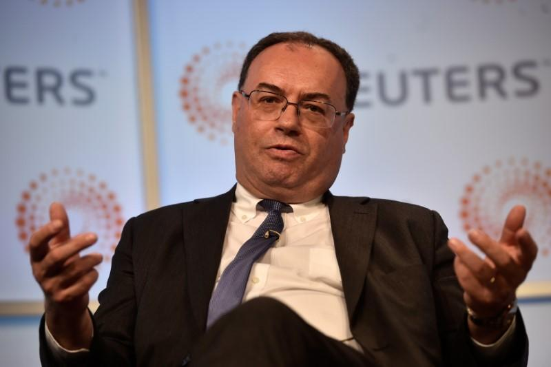 """Andrew Bailey, Chief Executive Officer of the Financial Conduct Authority, speaks during a """"Reuters Newsmaker"""" interview at the Reuters offices in London"""