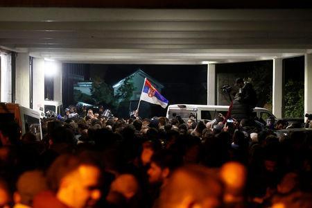 Protesters briefly broke into Serbia's state television building during a protest against Serbian President Aleksandar Vucic and his government in central Belgrade, Serbia, March 16 , 2019. REUTERS/Djordje Kojadinovic