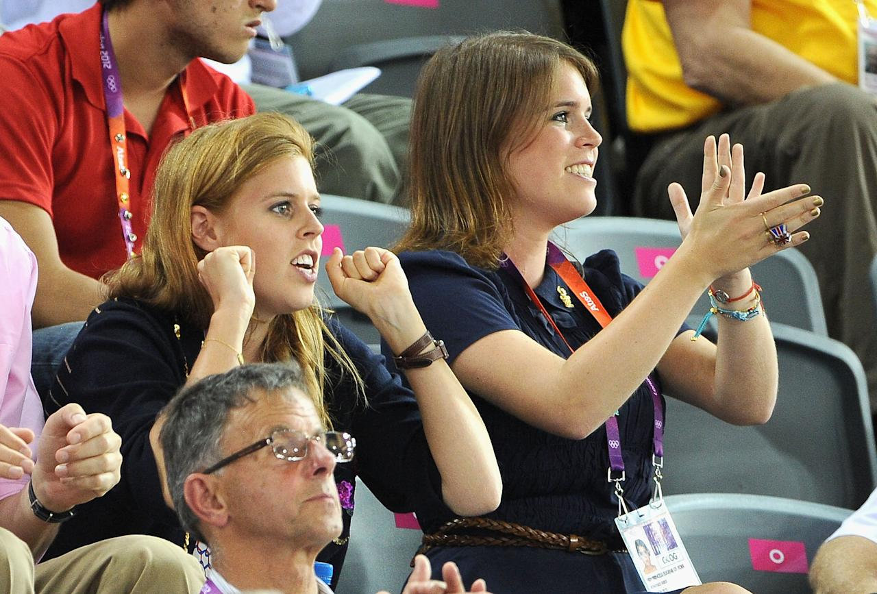 Princess Beatrice (L) and Princess Eugenie during Day 6 of the London 2012 Olympic Games at Velodrome on August 2, 2012 in London, England.  (Photo by Pascal Le Segretain/Getty Images)