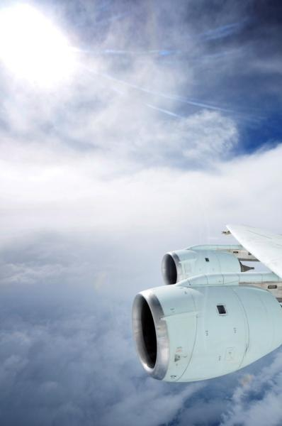 The eye of Hurricane Earl is shown outside the window of a NASA DC-8 gathering air samples for a study of low- and high-altitude air masses associated with tropical storms.