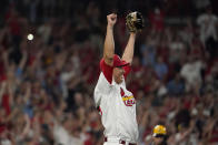 St. Louis Cardinals relief pitcher Giovanny Gallegos celebrates after defeating the Milwaukee Brewers in a baseball game to clinch a playoff spot Tuesday, Sept. 28, 2021, in St. Louis. (AP Photo/Jeff Roberson)