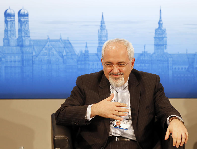 Iran's Foreign Minister Mohammad Javad Zarif listens during a panel discussion at the 50th Security Conference on security policy in Munich, Germany, Sunday, Feb. 2, 2014. (AP Photo/Frank Augstein)