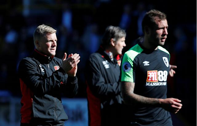 "Soccer Football - Premier League - Burnley vs AFC Bournemouth - Turf Moor, Burnley, Britain - May 13, 2018 Bournemouth manager Eddie Howe applauds their fans after the match Action Images via Reuters/Craig Brough EDITORIAL USE ONLY. No use with unauthorized audio, video, data, fixture lists, club/league logos or ""live"" services. Online in-match use limited to 75 images, no video emulation. No use in betting, games or single club/league/player publications. Please contact your account representative for further details."