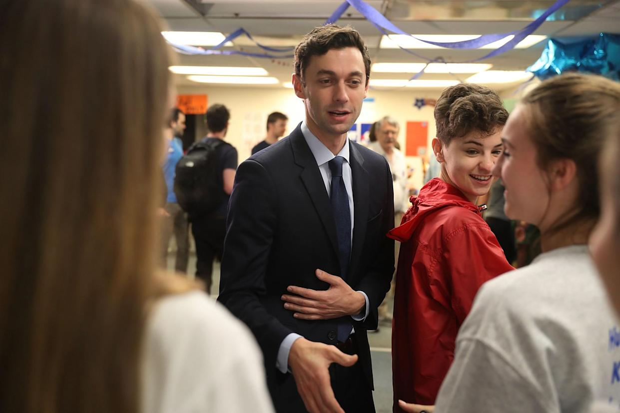 Democratic candidate Jon Ossoff visits a campaign office to speak with volunteers and supporters on Election Day as he runs to represent Georgia's Sixth Congressional District on June 20, 2017, in Tucker, Ga. (Photo: Joe Raedle/Getty Images)