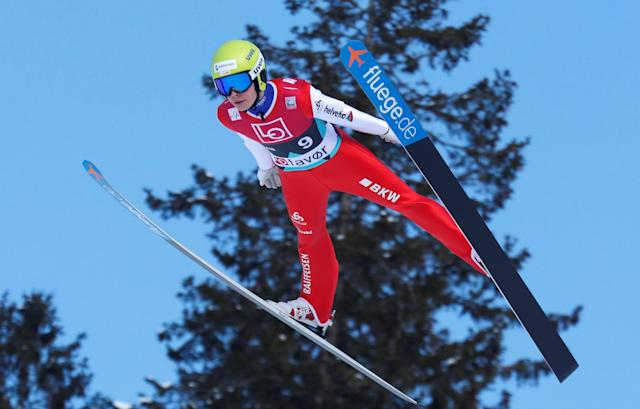 Ski Jumping - FIS World Cup - Men's HS240 Qualification - Vikersund, Norway - March 16, 2018 Sandro Hauswirth of Switzerland in action. Terje Bendiksby/NTB Scanpix/via REUTERS ATTENTION EDITORS - THIS IMAGE WAS PROVIDED BY A THIRD PARTY. NORWAY OUT.