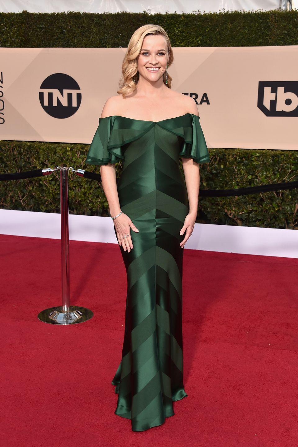 <p>The <em>Big Little Lies </em>nominee stood out at the 2018 SAG Awards in a chevron Zac Posen off-the-shoulder gown.  </p>