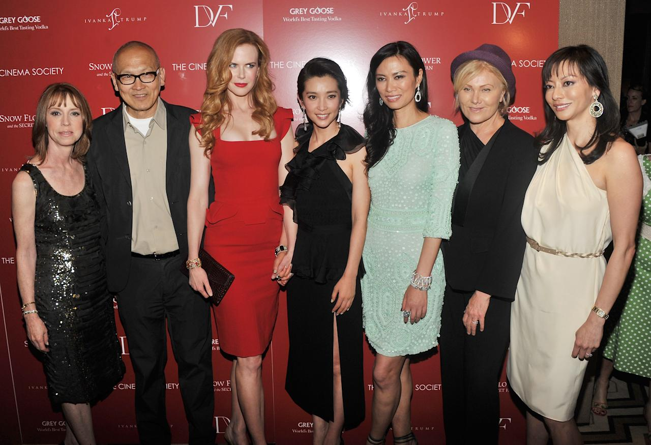 """NEW YORK, NY - JULY 13:  Author Lisa See, director Wayne Wang, actress Nicole Kidman, actress Li Bingbing, producer Wendi Murdoch, actress Deborra-Lee Furness, and producer Florence Sloan attend the Cinema Society with Ivanka Trump Jewelry & Diane Von Furstenberg screening of """"Snow Flower And The Secret Fan"""" at the Tribeca Grand Hotel on July 13, 2011 in New York City.  (Photo by Stephen Lovekin/Getty Images)"""
