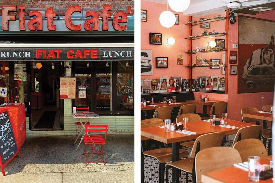Exterior and Interior of Fiat Cafe in SoHo