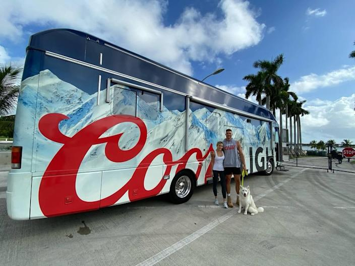 """Center Meyers Leonard, his wife Elle, and their dog Koko left Miami on Thursday in a Coors Light branded RV — what's being called the Coors Light """"Chillstream"""" — for a cross-country trip that will leave them in Los Angeles on Saturday, Nov. 7."""