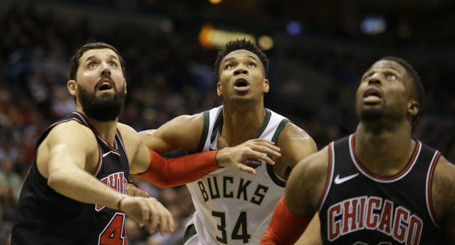 "<a class=""link rapid-noclick-resp"" href=""/nba/players/4905/"" data-ylk=""slk:Nikola Mirotic"">Nikola Mirotic</a> has elevated his game to a new level since returning from injury (AP Photo)."