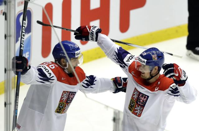 Ice Hockey - 2018 IIHF World Championships - Quarterfinals - USA v Czech Republic - Jyske Bank Boxen - Herning, Denmark - May 17, 2018 - Michal Repik of the Czech Republic celebrates after scoring with Roman Cervenka. REUTERS/David W Cerny