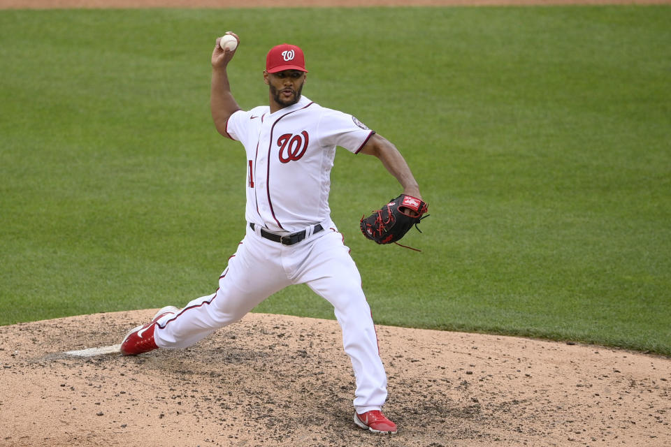 Washington Nationals starting pitcher Joe Ross delivers during the eighth inning of a baseball game against the San Francisco Giants, Sunday, June 13, 2021, in Washington. (AP Photo/Nick Wass)