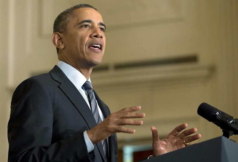 FILE - In this Jan. 31, 2014 file photo, President Barack Obama speaks in the East Room of the White House in Washington. As Republican leaders dampen hopes for overhauling immigration laws this year, the White House for now is betting that the display of GOP resistance is temporary and tactical and is resisting pressure from some allies to have President Barack Obama take matters into his own hands. (AP Photo/Carolyn Kaster, File)