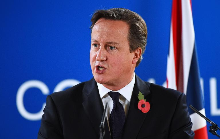 British Prime Minister David Cameron speaks during a press conference at the end of a European Union Summit at the EU headquarters in Brussels on October 24, 2014 (AFP Photo/Emmanuel Dunand)