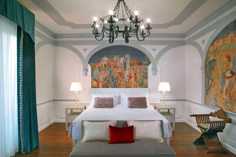 An ornate guest room at the St Regis Florence, voted one of the best hotels in the world
