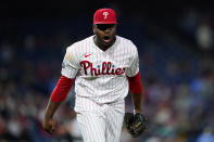 Philadelphia Phillies pitcher Hector Neris reacts after fielding a ground out by Pittsburgh Pirates' Ke'Bryan Hayes to end the eighth inning of a baseball game, Friday, Sept. 24, 2021, in Philadelphia. (AP Photo/Matt Slocum)
