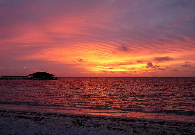 I witnessed some of the most dramatic sunsets in the Maldives. This one required no exposure compensation whatsoever. Yes, the sky was that color. But who would believe me in the age of photo-editing?