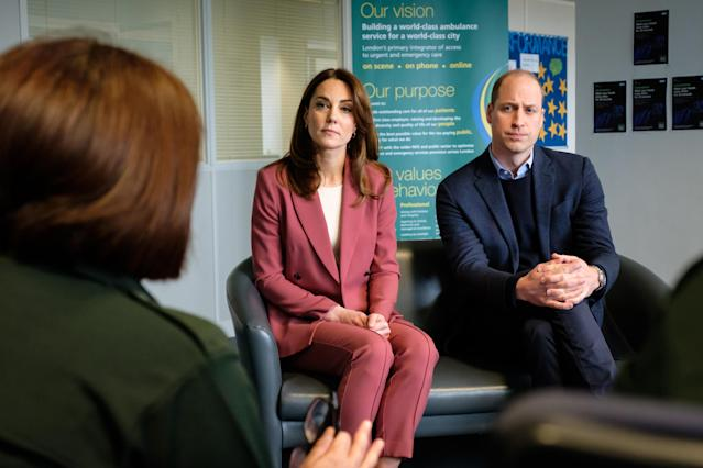 The Duke and Duchess of Cambridge visited the London Ambulance Service 111 control room in Croydon on Thursday. (Kensington Palace/PA Images)