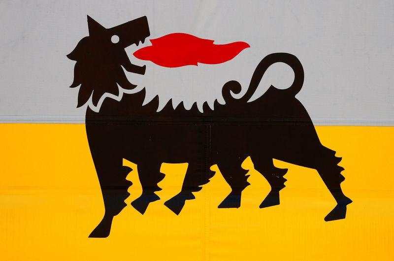 FILE PHOTO: The logo of Italian energy company Eni at a gas station in Rome