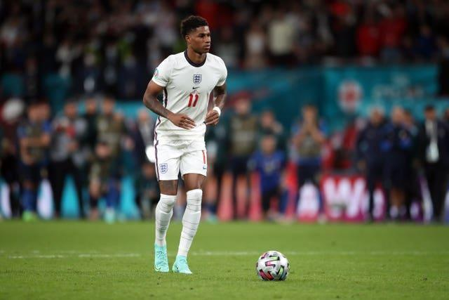 Marcus Rashford, pictured, Jadon Sancho and Bukayo Saka received online abuse after missing penalties in England's shootout defeat to Italy in the Euro 2020 final (Nick Potts/PA)