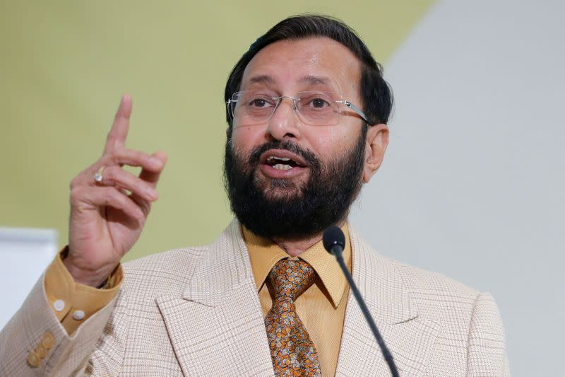 FILE PHOTO: India's Environment Minister Prakash Javadekar delivers his speech during a meeting at the World Climate Change Conference 2015 at Le Bourget