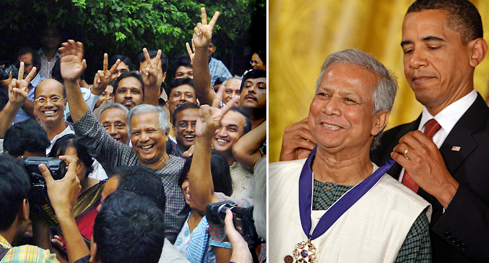 Left - Professor Yunus in the middle of a cheering crowd in Bangladesh. Right - He receives a medal from President Barak Obama.
