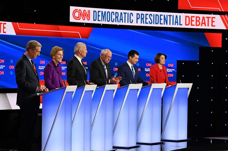 The Democratic presidential debate in Des Moines, Iowa, on Jan. 14, 2020.