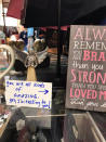 In this Dec. 10, 2020 photo, an uplifting note, placed by Debbie McFarland, is seen among items in a hospital gift store in Atlanta. McFarland is the founder of the Facebook group Sparks of Kindness, a community of people going out of their way to put a smile on the faces of others through small but touching good deeds. (Debbie McFarland via AP)