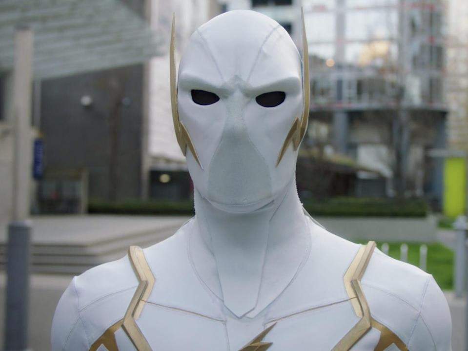 """Godspeed wearing a white and gold suit on season seven of """"The Flash."""""""