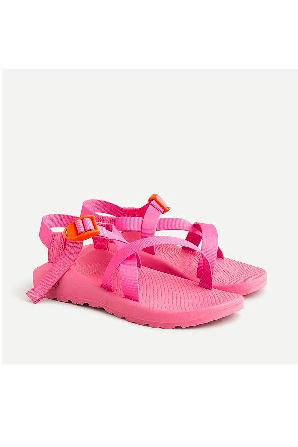 """<p><strong>Chaco® X J.Crew</strong></p><p>jcrew.com</p><p><strong>$105.00</strong></p><p><a href=""""https://go.redirectingat.com?id=74968X1596630&url=https%3A%2F%2Fwww.jcrew.com%2Fp%2FAR357&sref=https%3A%2F%2Fwww.oprahdaily.com%2Fstyle%2Fg25893553%2Fbest-sandals-for-women%2F"""" rel=""""nofollow noopener"""" target=""""_blank"""" data-ylk=""""slk:SHOP. NOW"""" class=""""link rapid-noclick-resp"""">SHOP. NOW</a></p><p>J.Crew and outdoor sandal company Chacos joined forces for a vibrant iteration of the shoe brand's bestselling style. Play around with the adjustable webbed straps to find your perfect fit and you'll be hitting your stride in no time. </p>"""