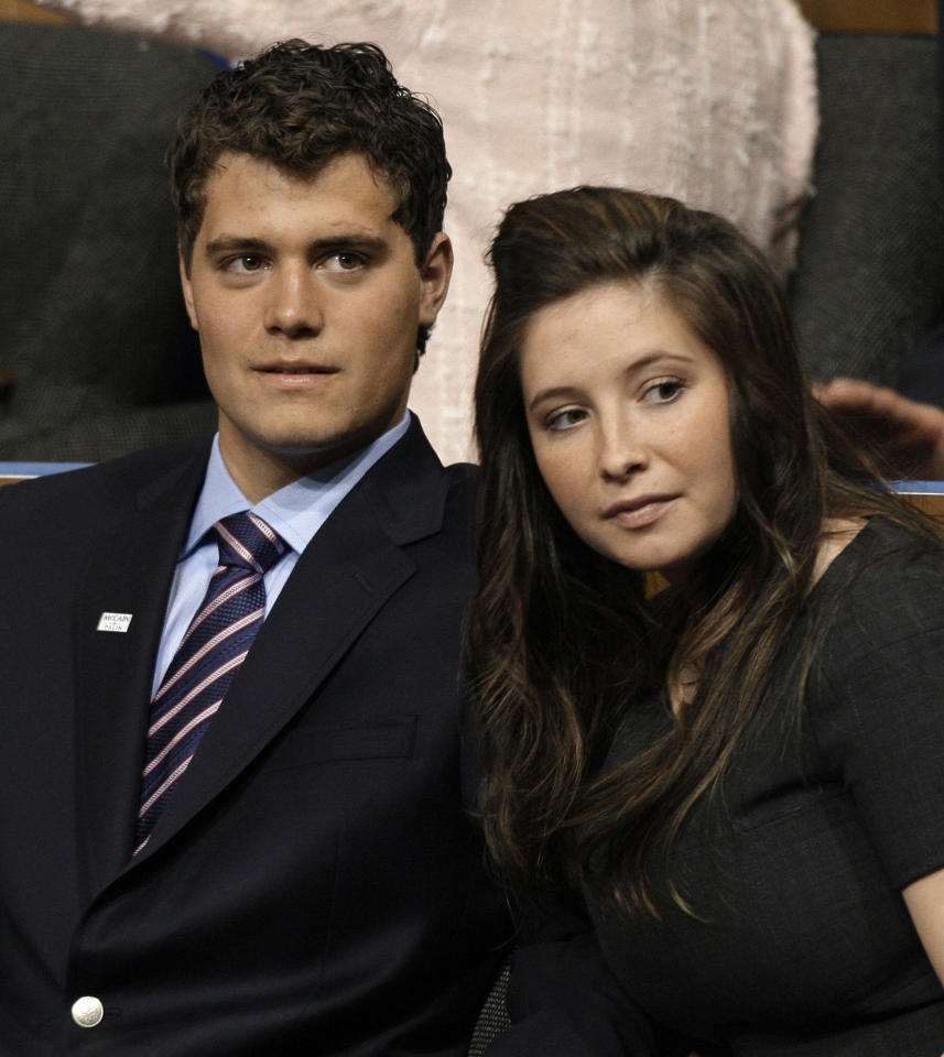 """FILE - In this Sept. 3, 2008 file photo, Levi Johnston, left, is seen with his girlfriend Bristol Palin at the Republican National Convention in St. Paul, Minn. Levi Johnston is promising to set the record straight about the Palin family. Touchstone Publishing has a fall publication date for Johnston's book, """"Deer in the Headlights: My Life in Sarah Palin's Crosshairs."""" Johnston fathered a child with Bristol Palin, the daughter of the former Alaska governor, when they were teenagers. The pregnancy was announced days after Palin was selected as the 2008 GOP vice presidential candidate."""