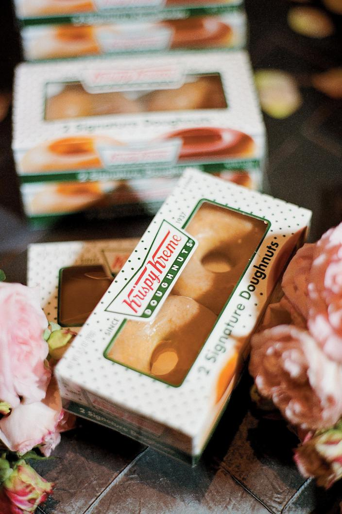 <p>A Krispy Kreme truck delivered boxes of doughnuts at the end of the night.</p>