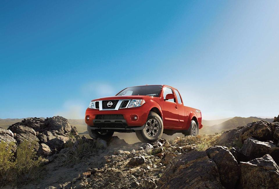 "<p>The <a href=""https://www.caranddriver.com/nissan/frontier"" rel=""nofollow noopener"" target=""_blank"" data-ylk=""slk:Nissan Frontier"" class=""link rapid-noclick-resp"">Nissan Frontier</a> is old school in many good and some not-good ways. If you're a tech fiend, forget about it: The Frontier is as technologically advanced as a rock. But the Pro-4X is ready for trail bashing out of the box. The four-wheel-drive Pro-4X has an electronically locking rear differential, all-terrain tires, Bilstein dampers, and hill-descent control. Buyers can pair its new for 2020 310-hp 3.8-liter V-6 with a nine-speed automatic. There's also a Dana 44 rear axle and 2-speed transfer case with an electronic locking rear differential.</p>"