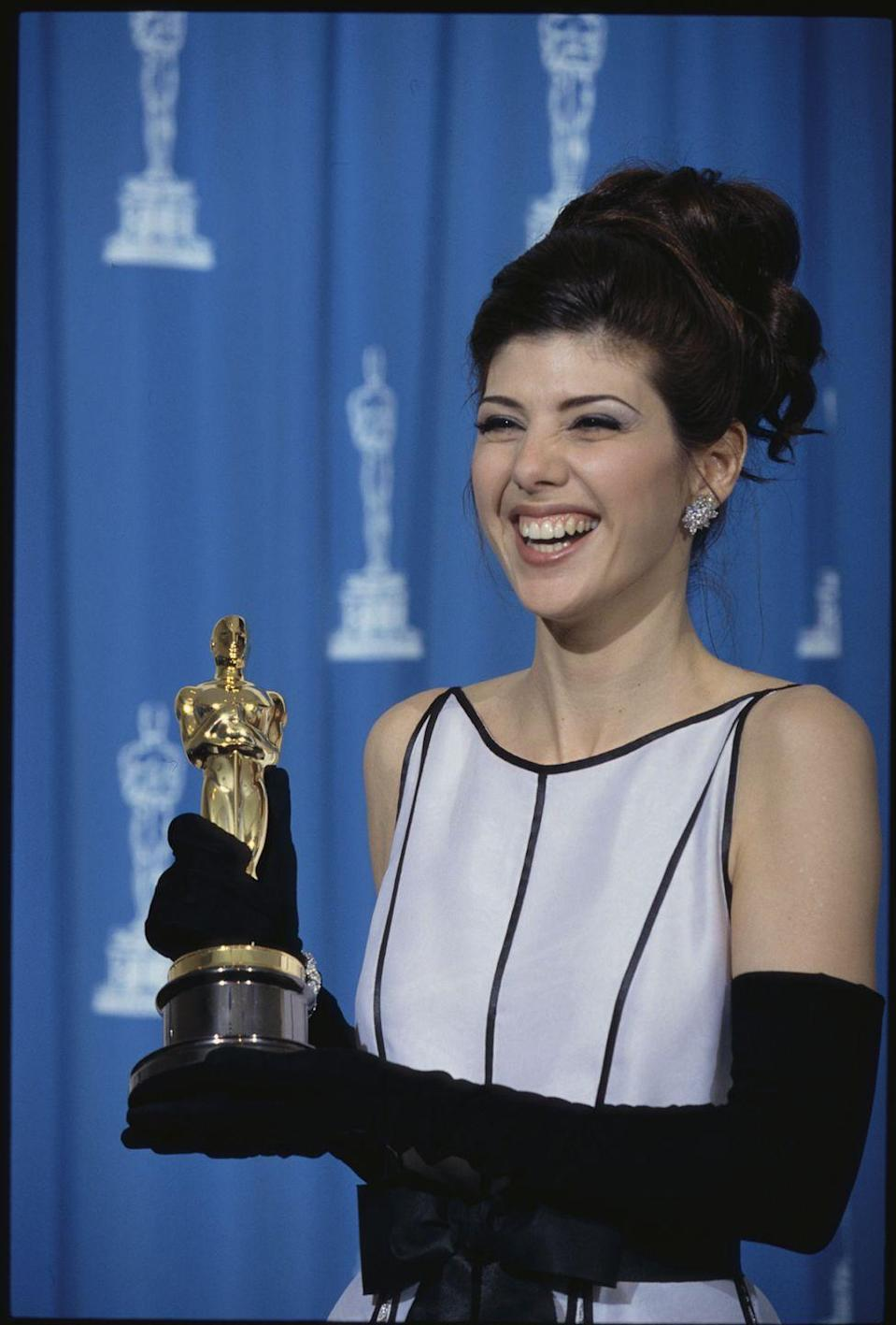"""<p>After <a href=""""https://www.youtube.com/watch?v=ej8EpWYFhnw"""" rel=""""nofollow noopener"""" target=""""_blank"""" data-ylk=""""slk:Marisa Tomei won Best Supporting Actress"""" class=""""link rapid-noclick-resp"""">Marisa Tomei won Best Supporting Actress</a> for her role in <em><a href=""""https://www.amazon.com/dp/B00517EQSY?ref=sr_1_1_acs_kn_imdb_pa_dp&qid=1547582882&sr=1-1-acs&autoplay=0&tag=syn-yahoo-20&ascsubtag=%5Bartid%7C10055.g.5148%5Bsrc%7Cyahoo-us"""" rel=""""nofollow noopener"""" target=""""_blank"""" data-ylk=""""slk:My Cousin Vinny"""" class=""""link rapid-noclick-resp"""">My Cousin Vinny</a>,</em> <span class=""""redactor-invisible-space"""">people began to suspect there had been some mistake, since she had beat out several famous veteran actresses. Most seemed to think that presenter Jack Palance read the wrong name, or got confused, and the Academy just didn't want to cause an embarrassing scene. But <a href=""""https://www.snopes.com/movies/actors/tomei.asp"""" rel=""""nofollow noopener"""" target=""""_blank"""" data-ylk=""""slk:that theory has been thoroughly debunked"""" class=""""link rapid-noclick-resp"""">that theory has been thoroughly debunked</a>, and as we've seen from the <a href=""""https://www.goodhousekeeping.com/life/entertainment/news/a43038/best-picture-moonlight-la-la-land-oscars-mix-up/"""" rel=""""nofollow noopener"""" target=""""_blank"""" data-ylk=""""slk:Best Picture fiasco in 2017"""" class=""""link rapid-noclick-resp"""">Best Picture fiasco in 2017</a>, the Academy <em>will </em><span class=""""redactor-invisible-space"""">step in if a mistake is made. </span></span></p>"""