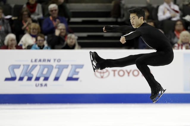 In this Jan. 4 file photo, Nathan Chen performs during the men's short program at the U.S. Figure Skating Championships in San Jose, Calif. (AP)