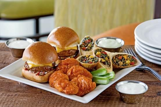 Chili's appetizer of sliders, wings, and wraps.