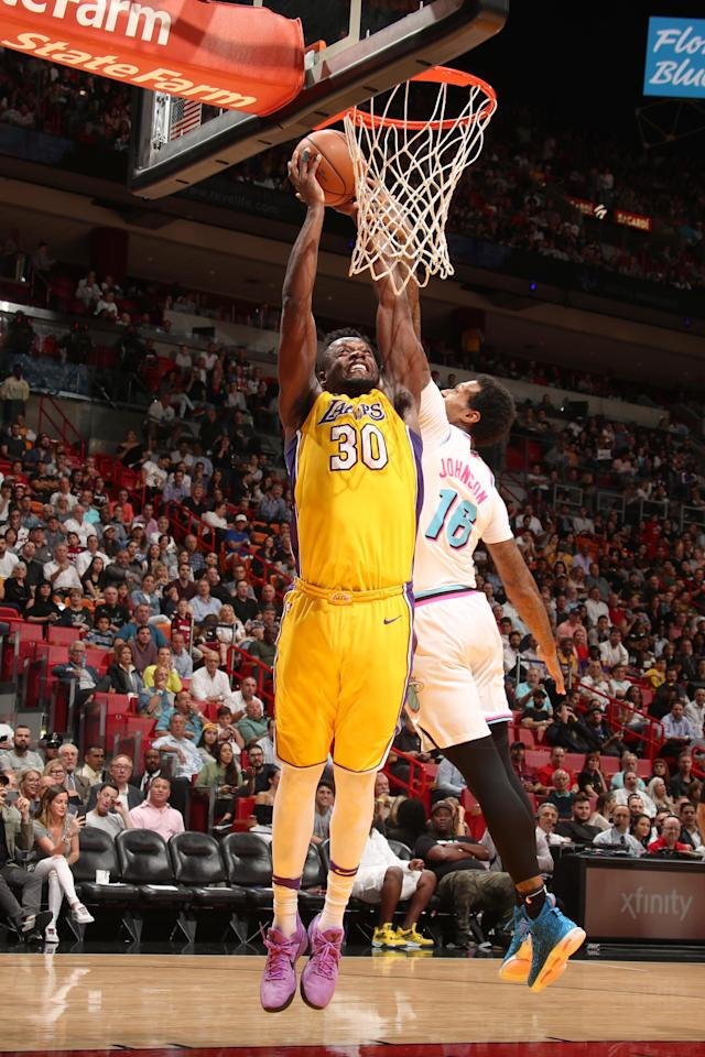 MIAMI, FL - MARCH 1: Julius Randle #30 of the Los Angeles Lakers goes to the basket against the Miami Heat on March 1, 2018 at American Airlines Arena in Miami, Florida. (Photo by Issac Baldizon/NBAE via Getty Images)