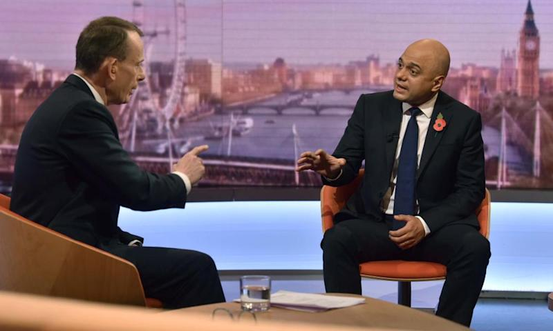 Andrew Marr, here interviewing Sajid Javid, admits he looks at the impact his shows have online.