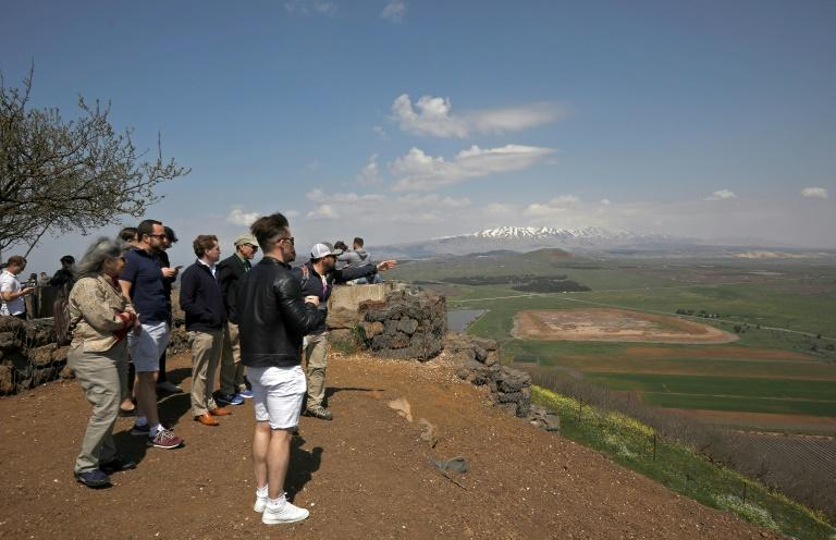 Tourists visit Mount Bental in the Golan Heights